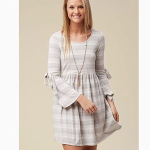 Altar'd State Monza Dress grey and white stripes